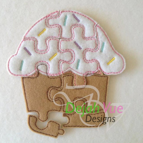 Cup Cake ITH Felt Puzzle Embroidery Design by DejahVueDesigns