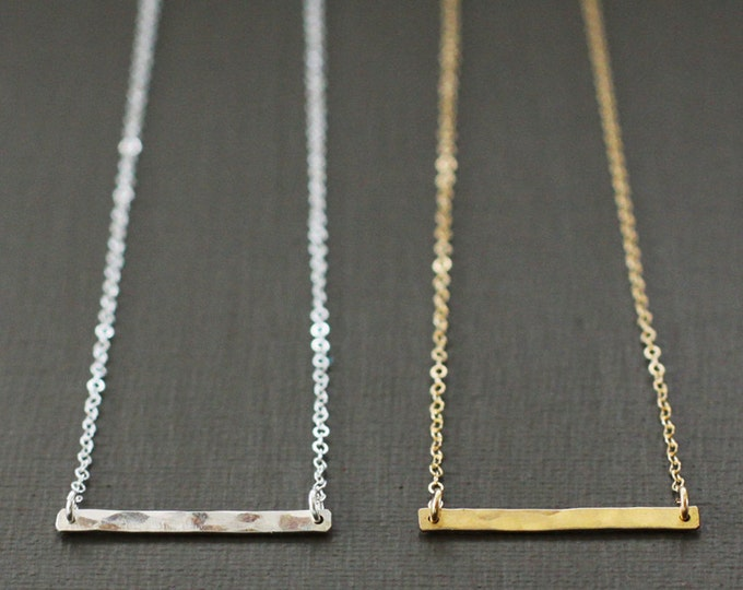 Gold Bar Necklace - Hand Hammered 14K Gold Filled Bar - CLASSIC