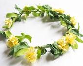 Dainty Yellow Floral Crown, Flower Crown, Floral Headband, Flower Headband, Hair Wreath