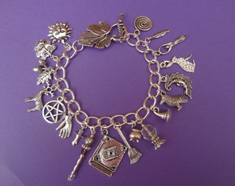 Witchy Wiccan Charm Bracelet  - Pagan / Wiccan / Wicca  / Witchcraft /Witchy