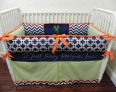 Custom Crib Bedding Set Hunter -  Navy Chevron, Lime Pinstripes, and Orange with Deer Design