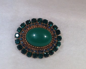 Vintage Emerald Green and Blue Brooch