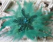 Peacock Feathers Design with Pearl and Sequins Center Brooch ~ Brooch Bouquet, Bridal Jewelry, Costume Jewelry, Crafting, RH-052