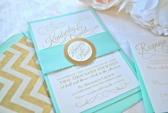 Romantic Mint Blush And Gold Wedding Invitation NOT A