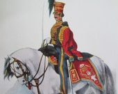 VINTAGE 1841 Fifteenth Hussars - small military drawing, illustration, print / plate 17