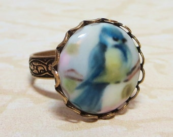 Blue Bird Ring Bluebird Cameo