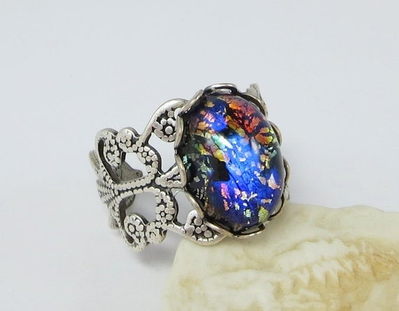 black opal ring antiqued silver black fire opal midnight blue