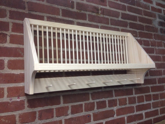 Items Similar To Wall Mounted Plate Rack With Cup Pegs On Etsy