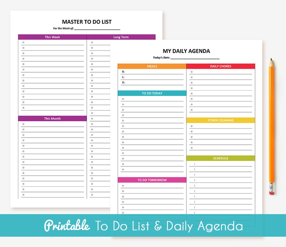 printable daily agenda to do list package. Black Bedroom Furniture Sets. Home Design Ideas