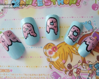 Fake Nail Set  - Pastel Goth Pink and Blue Drippy Candy Rad Nails