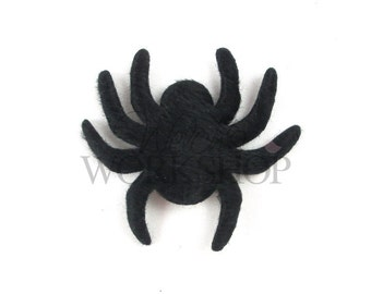 "Halloween - Set of 5 Black Spiders - 2"" Padded Appliques - PA-015"