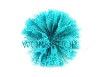 "Dark Aqua - Set of 3 Unfinished 3"" Frayed Chiffon Ballerina Flowers - FBF-022"