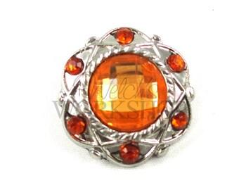 Orange - Set of 5 Acrylic 25mm Vintage Rhinestone Buttons - AB-118