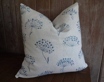 Sale Cowtan and Tout alba Lunen 20 Inch Blue Embroidered Dandelion Puff White Linen Pillow Cover