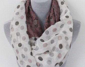 Polka Dot Scarf, Pink Polka Dot Infinity Scarf, Flower Infinity Scarf, Floral Scarf, Winter Scarf, Womens Scarves, Gift For Her, For Girl