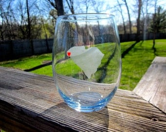 ANY State with Heart- Etched Stemless Wine Glass