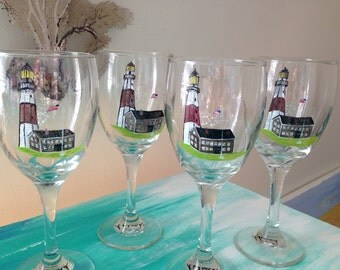 Hand painted wine glasses w montauk lighthouse