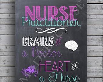 Nurse Practitioner Chalkboard Art -Print