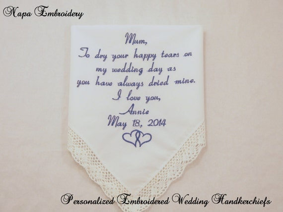 Wedding Gifts For Mom From Bride : WEDDING GIFTS for MOTHER of the Bride embroidered Handkerchief ...