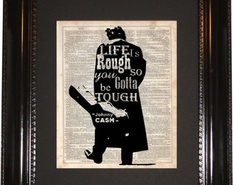 Johnny Cash Life is Rough, Vintage Dictionary, Man in Black, Rockabilly, Wall Decor, Silhouette Art, Wall Hanging, Art Prints, Cameo