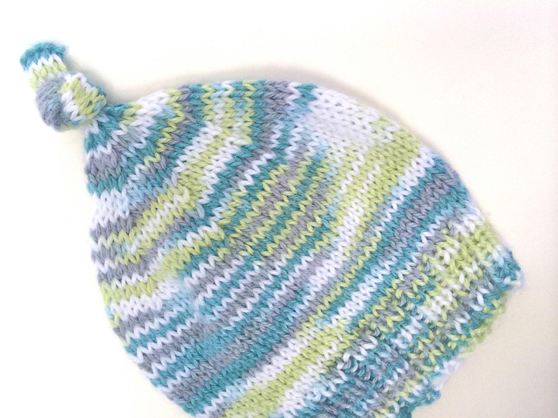 Baby Knot Hat Knitting Pattern : Knitting PATTERN: Knot Top Newborn Baby Hat to Knit by SwanJay