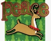 Christmas Card with a Reindeer Running Through a Forest of Peace