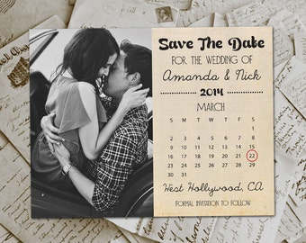 "Wedding Save The Date Magnets - HollywoodDrive Vintage Photo Personalized 4.25""x5.5"""