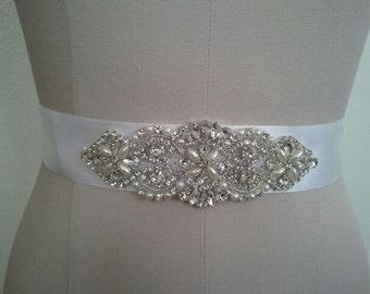 Wedding Belt, Bridal Belt, Sash Belt, Crystal Rhinestone & Off White Pearls  - Style B200099