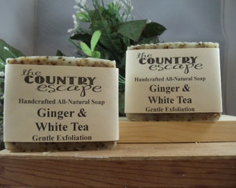 Ginger and White Tea Olive Oil Soap -w/ Jojoba and Argan Oils -Gentle & Moisturizing-All Natural Vegan -Naturally Scented - Paraben Free