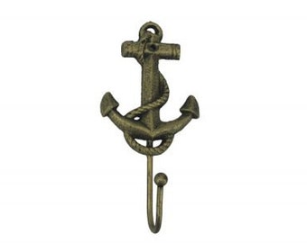 "Cast Iron Anchor Hook 7"" / Rustic Gold / Rustic Silver / Rustic Dark Blue Bronze"