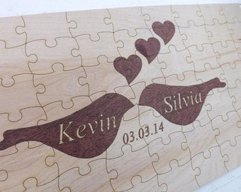 70 Piece Love Birds Engraved Wood Puzzle Wedding Guest Book Rustic Books