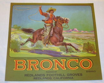 Bronco Crate Label circa 1940 original