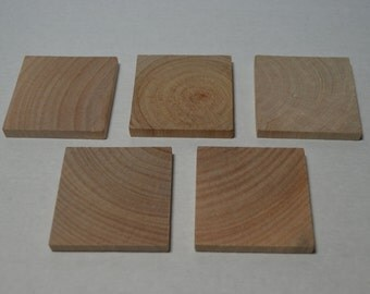 """2"""" Wood Squares - 5 - Wood Tiles - Unfinished Wood - 1/4"""" Thick"""
