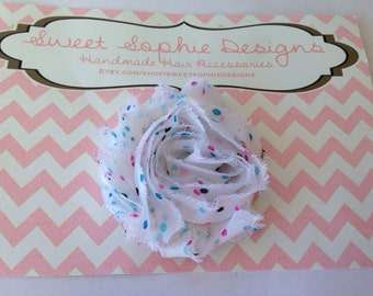 White with Blue and Pink Dots Shabby Flower Hair Clip
