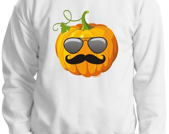 Aviators and Mustache Jack O'Lantern Halloween Crewneck Sweatshirt 18000 - HW-129