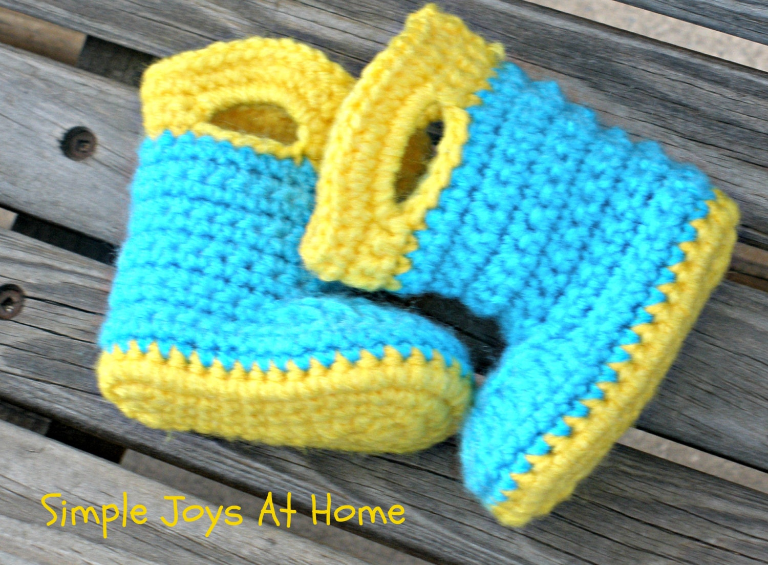 Crochet Pattern Baby Rain Boots : Yellow and Turquoise Crocheted Baby Rain Boots by ...