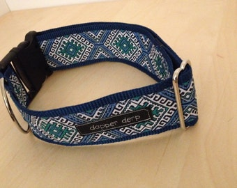 "Navy White & Teal 2"" Dog Collar"