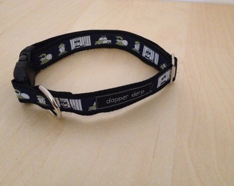 """Cops & Robbers Themed Navy Black and White 1"""" Dog Collar"""