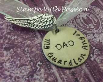 Bride bouquet memorial charm - hand stamped and personalized - Wedding, Bride, Gift, In memory of charm,My Guardian Angel - DAD