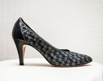 Grey Vintage Heels / Checkered Heels / Leather Vintage Shoes / Grey Stiletto High Heels