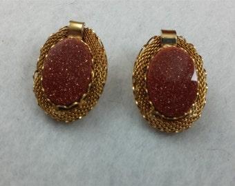 SALE     Beautiful Sunstone Clip Earrings