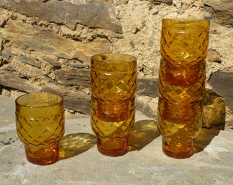 Six French fifties 50's Pernod S A amber glasses.