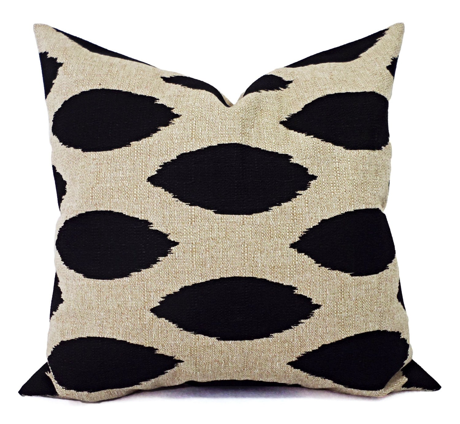 Cream Decorative Pillow Covers : Two Sofa Pillow Covers Black and Cream Ikat by CastawayCoveDecor
