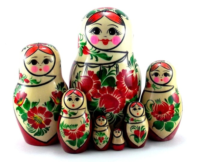 Nesting Dolls 7 pcs Russian matryoshka Babushka doll for kids set Wooden stacking authentic genuine toys Birthday gift for mom Sudarushka