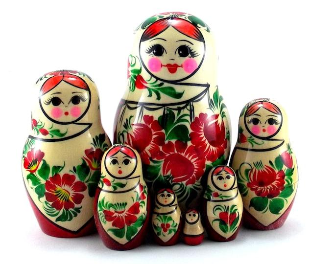 Nesting Dolls 7 pcs Russian matryoshka Babushka doll for kids set Wooden stacking authentic genuine toys Birthday gift for mom Sudarushka