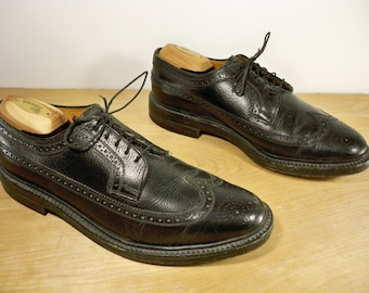 Vintage Ambassador Made in England Black Leather Men's Work Wingtips Pimp Gangster Dress Shoes Oxford Size 10 US
