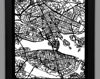 "Stockholm Laser Cut Map | 18x24"" Framed City Map 