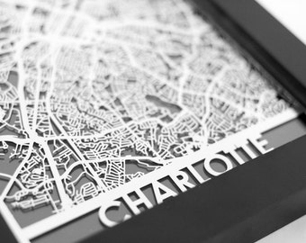 "Charlotte North Carolina Stainless Steel Laser Cut Map - 5x7"" Framed 