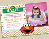 Elmo Birthday Invitation - Sesame Street Invitation - Pink, Green and Blue - Chevron - Printable - PDF - Girl Birthday