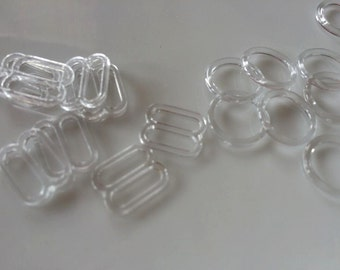 "3/8"" ,5/8"" and 7/8""Clear Plastic  slider and ring sets  Great for headbands. adjustable FOE headband"